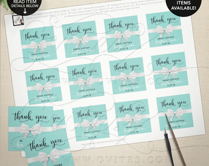 "Thank You Tags Sweet 16 Gifts, Breakfast at Printable Party Favors, Labels, Party Audrey Hepburn, Digital File Only! 2x2"" 12 Per Sheet"