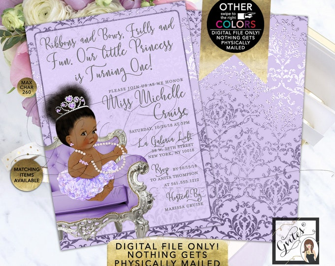 "Princess Lavender and Silver Baby Shower Invitations, Printable File, JPG + PDF Format. 5x7"" Double Sided"