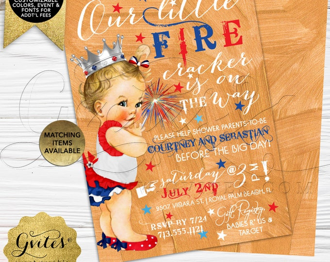 4th of July Baby Shower Invitation | Digital File Only! | JPG + PDF Format | By Gvites