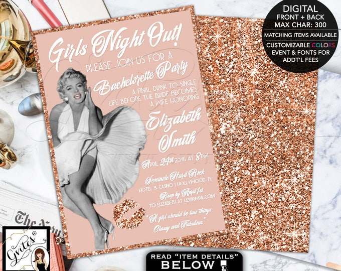 Rose Gold invitations, bachelorette Hollywood Style Invitation, Marilyn Monroe 1950s bridal shower, Girls night out, printable 5x7.