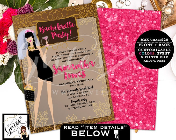 Pink and Light Brown Bachelorette Party Invites, Wedding Invitations, bridal shower printable, template, glitz and glam, pink and gold, 5x7