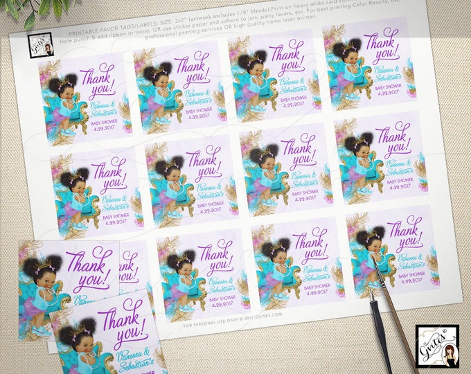 """Thank you baby shower tags stickers toppers turquoise purple gold African American princess. 2x2"""" 12/Per Sheet  Design: TIACH-105 By Gvites"""