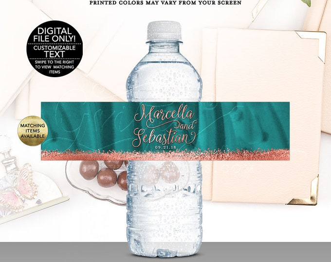 "Wedding Water Bottle Labels Teal Copper, rose gold glitter printable, bling glitz and glam fashion designer. Digital, DIY, 8x2""/5 Per Sheet"