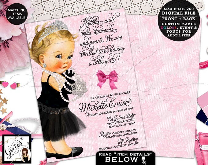 Pink Baby Shower Invitation, Audrey Hepburn Inspired Baby Girl Princess, Silver Tiara Pearls, Ribbons and Bows, Black Dress Tutu, Digital