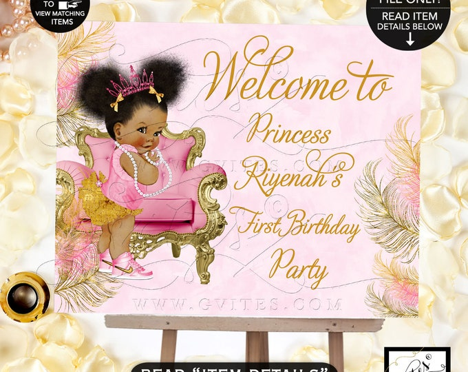 First Birthday Welcome Sign, Afro Puffs Princess Decorations Baby Girl, African American Birthday Poster, Gvites {Pink/Gold Feathers}