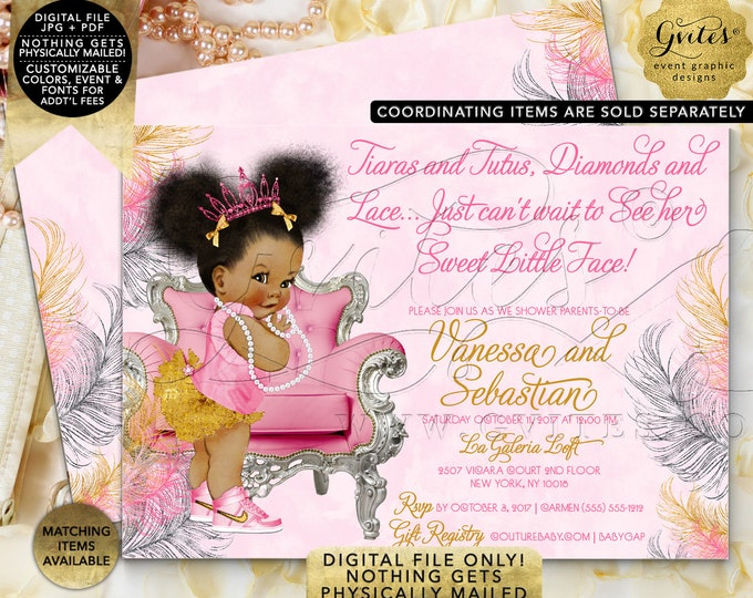 Pink Gold & Silver baby shower invitation, tiaras tutus diamonds pearls invites, Afro Puffs, 7x5 Double Sided. {Pink/Silver/Gold Feathers}