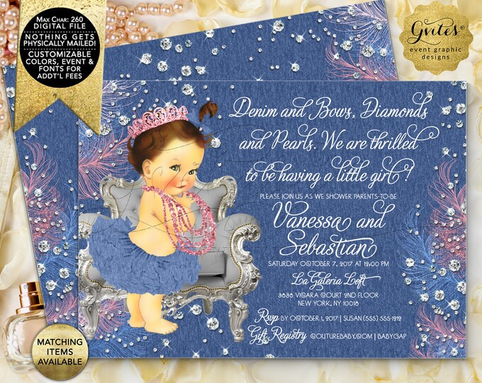 Denim and Bows Diamonds and Pearls Baby Shower Invitation, Vintage Baby Girl. Pink Blue and Silver. Digital File Only!
