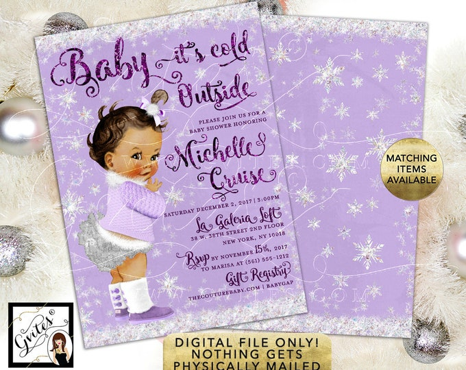 "African American Baby it's Cold Outside Shower Invitations, Winter Glitter Snow Vintage Girl. Purple Lavender Silver. 5x7"" Double Sided."