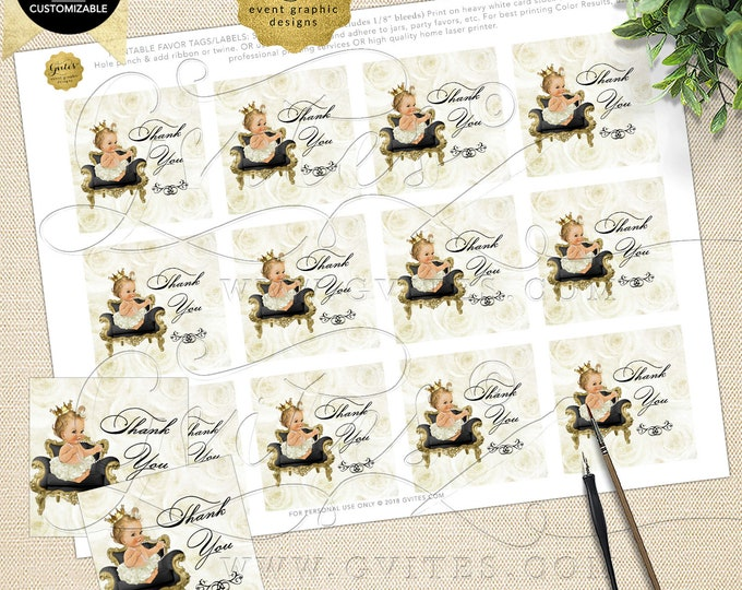 Thank You Tags Baby Shower Ivory Gold INSTANT Download Princess | Caucasian Light/Blonde 2x2 Tags/12 Per Sheet Design: WHRST-102 By Gvites
