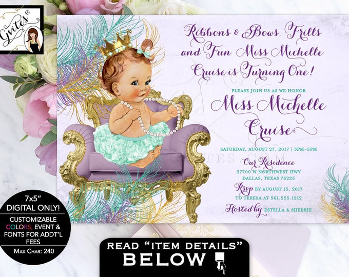 "Lavender and Mint Baby Shower Princess Invitation, ribbons and bows frills and fun, digital file only! 7x5"" Gvites"