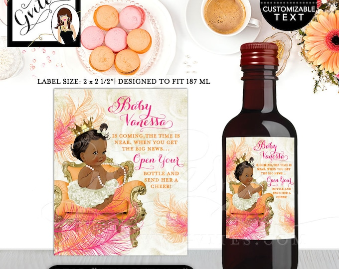 """Baby Shower Wine Label MINI WINE Pink and orange baby shower princess, orange ivory pink and gold {2x2.5"""" 12 Per/Sheet}"""