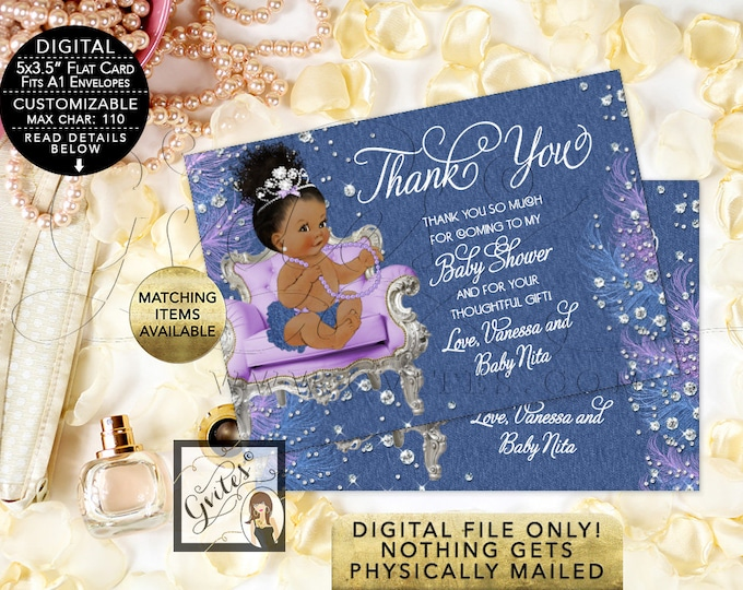 "Thank You Baby Shower Cards - Denim diamonds and soft little curls, Afro Bun Curly Vintage African American Baby Girl. {5x3.5"" 4 Per/Sheet}"