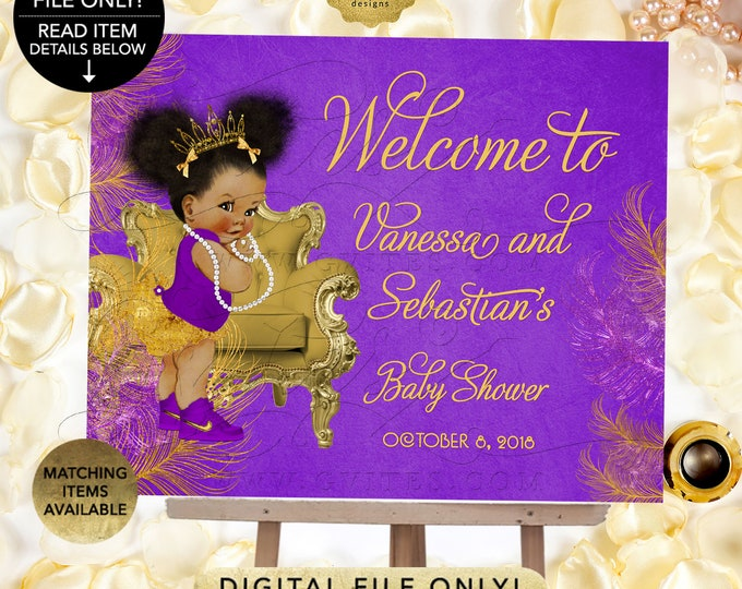 Purple and gold WELCOME SIGN baby shower, purple baby decorations, poster, printable, princess african american baby girl, Afro Puffs Gvites