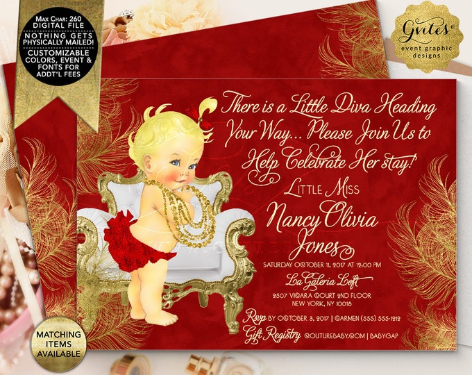 "Red and Gold Baby Shower Printable Invitation, There is a little diva heading your way baby invites. Digital File Only! 7x5"" Double Sided."