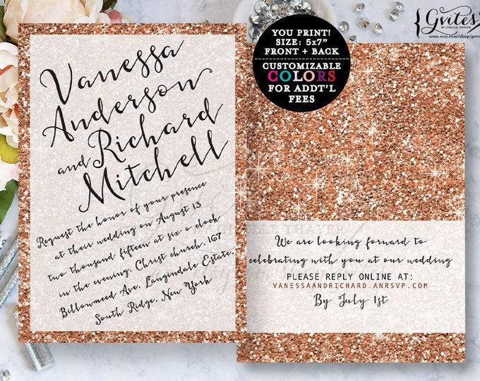 Rose gold wedding invitation, rose gold glitter, designer fashion, glitz glam, elegant, sophisticated invites, double sided.