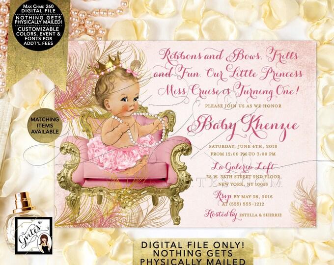 "Blush Pink and Gold Invitations First Birthday Royal Princess, Vintage Baby Girl Invitation, Printable, Diamonds Pearls DIY, 7x5"", Gvites."