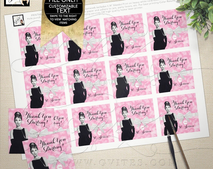 "Thank You Tags Bridal Shower, Audrey Hepburn party, gift tags, stickers, favors breakfast at, favor tags 2x2"" 12/Per Sheet {Rose Bokeh}"