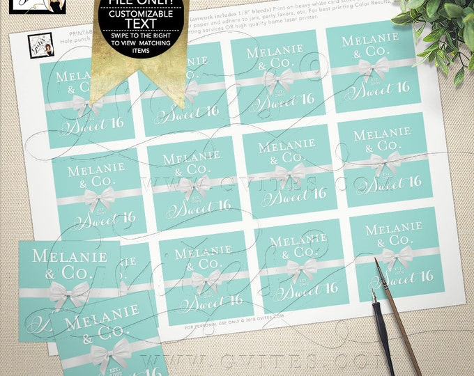 "Sweet 16 Labels, Thank You Stickers, Tags, Gifts, Blue White Teen Party Printable, DIY Digital File Only! Gvites 2x2"" 12 Per Sheet"