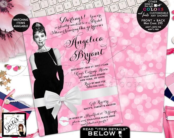 "Bridal Shower Invitation Audrey Hepburn Inspired Party Invites, Breakfast Shower Brunch, Digital, Double Sided, 5x7"" Gvites"
