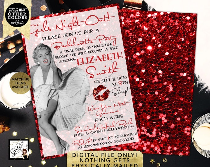 """Marilyn Monroe Invitation Girls Night Out, Bachelorette Old Hollywood Style, Red Glitter Glitz Glamour,  5x7"""" Double Sided, DIY, Digital"""