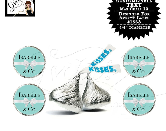 Hershey kiss stickers, breakfast at blue co themed labels, baby shower, bride & co, name and co CUSTOMIZABLE{Designed For Avery® 41568}