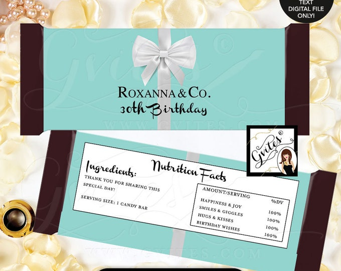 Customizable 30th Birthday Candy wrappers, chocolate bar candy labels, favors gifts, white bow blue themed party printables, 2-Per/Sheet