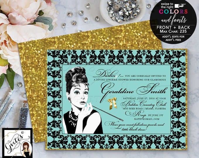 Audrey Hepburn Style Invitations, Breakfast Bridal Shower, CUSTOMIZABLE colors & fonts. 7x5 double sided