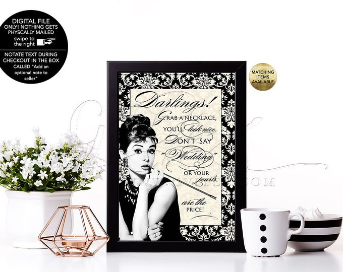 "Pearl Necklace Game Don't Say Wedding Bridal shower games Audrey Hepburn, Ivory and Black Damask breakfast at themed co bridal, 5x7"" Gvites."