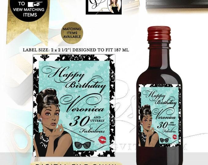"MINI Wine Labels, 30 & Fabulous,Audrey Hepburn Printable, 30th women birthday party supplies, African American, Digital. 2x2.5"" 12 Per/Sheet"