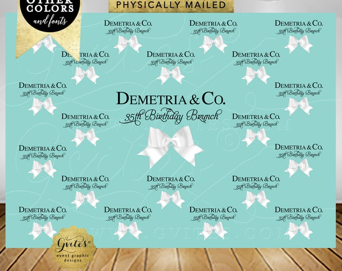 DIGITAL-Step and Repeat Backdrop 35TH BIRTHDAY. Photo Booth back drop blue white bow. Design Fees Only! Nothing Gets Physically Shipped.