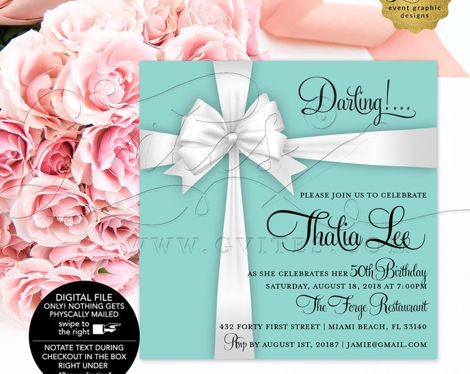 Blue 40th Birthday Printable Invitation, Breakfast at, Little Black Dress, Diamonds Pearls, Adult Woman Elegant Invites, Digital, 5x5""