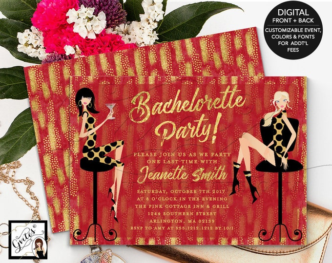 Bachelorette Party Invitation Printable, Holiday Theme, Christmas Invites, Fashion Designer, Red Gold Glitter, Couture Invitations, 7x5""