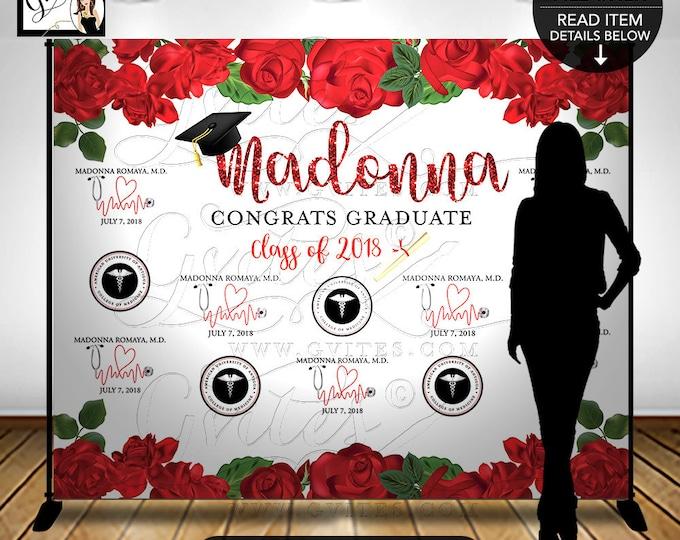 Graduation Step & Repeat Backdrop, Congrats Graduate, Med School, Red Roses, Graduate Cap Black, Printable, Digital, DIY, Design Fees Only!