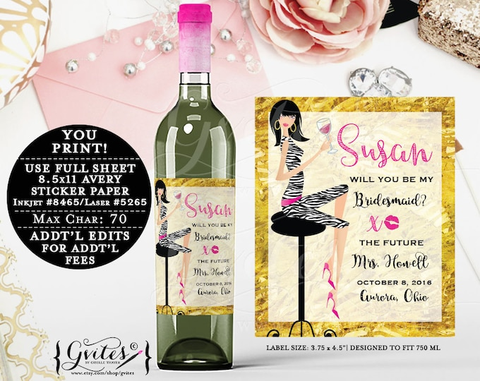 "Pink and Gold Wine Bottle labels customizable, bridal shower stickers, bridesmaid labels, printable bottle tags.  {3.75x4.5""/4 Per Sheet}"
