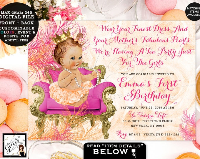Pink and gold First Birthday invitations, Princess baby girl, pearls diamonds, 1st birthday party, digital, diy, printable. 7x5""