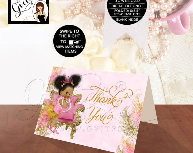 Thank You Cards Pink Gold Baby Shower Tiaras Diamonds Pearls African Princess Instant Download {Design: TIACH-110} By Gvites
