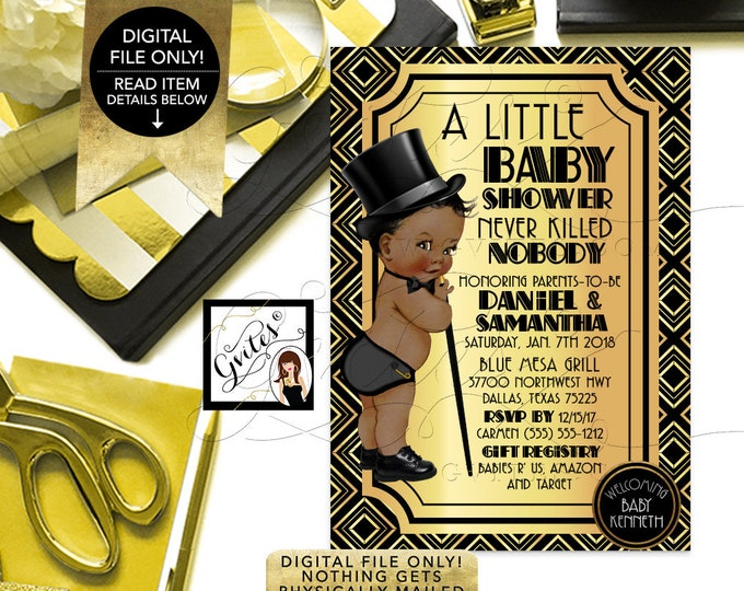 """Black and Gold Baby Shower Invitation, African American Prince Boy, Top Hat, Gatsby Theme, Vintage 1920s DIY, Digital File, 5x7"""", Gvites"""