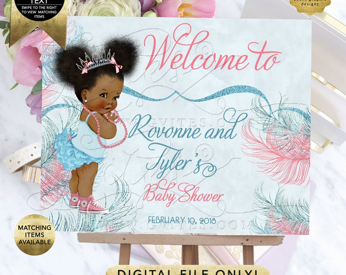 Blue Pink Welcome Sign Baby Shower Poster, Signs Decoration, Princess Afro Puffs Entrance Decor, DIY, Digital, Printable.