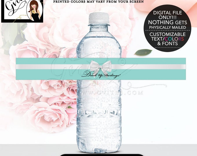 """Blue Water Bottle Labels - Drink Up Darling Stickers, Breakfast label. 9.75x1.25""""/5 Per Sheet {Designed For Avery® 22845} CUSTOMIZABLE TEXT."""