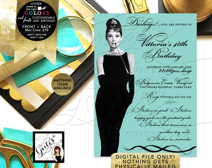40th Birthday Audrey Hepburn Party Printable Invitations, Breakfast at, Blue Little Black Dress, Diamonds Pearls, DIY, Digital, 5x7, Gvites.