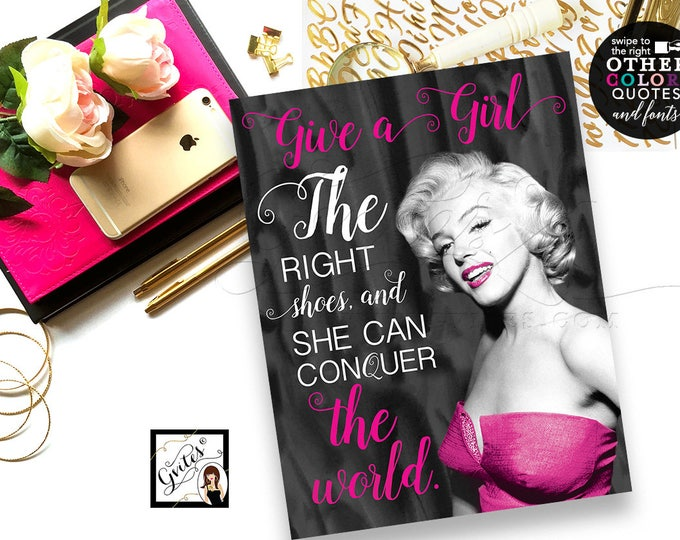 Marilyn Monroe printable quote, wall art, poster signs, decorations, bridal shower, bachelorette, lingerie shower, custom signs, quotes, diy