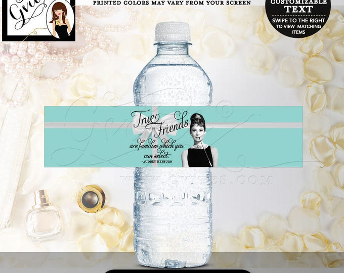 """Breakfast at party, water bottle labels, Audrey Hepburn party stickers, birthday or bridal {8x2"""" 5 Per Sheet} CUSTOMIZABLE TEXT"""