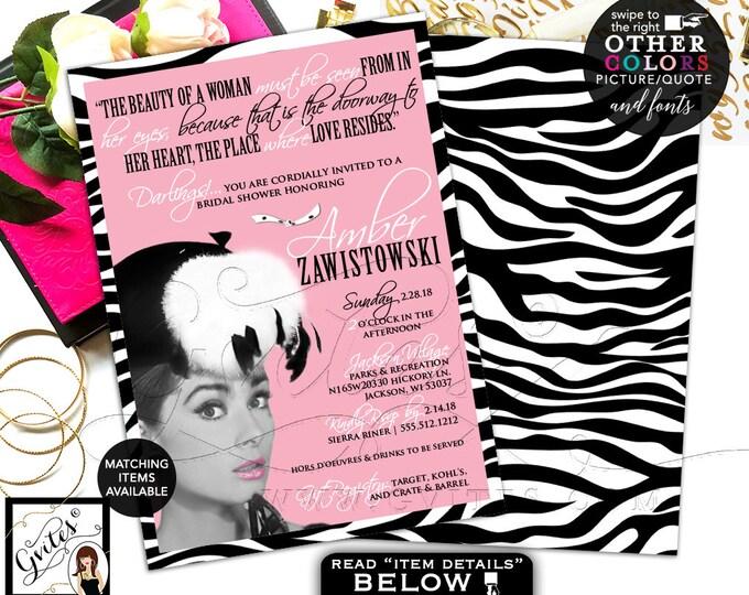 Pink and Black Bridal Shower Breakfast at Co Invitation, Audrey Hepburn Printable Party Themed, Printable, DIY, 5x7, Digital. Gvites