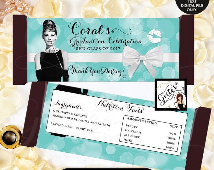 """Audrey Hepburn Candy Bar Wrapper Graduation favors, party gifts, hershey chocolate wrapper,PRINTABLE {2 Per/Sheet 5.25x5.75""""}"""