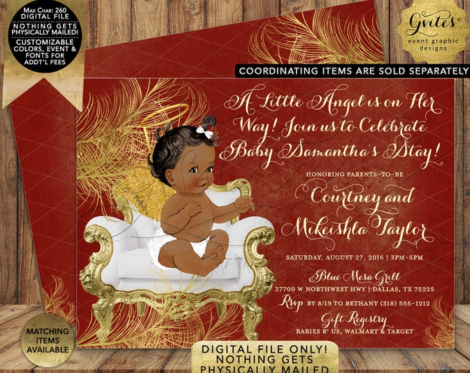 African American Red Gold Baby Shower Invitation | Digital Printable File | JPG + PDF Format | By Gvites