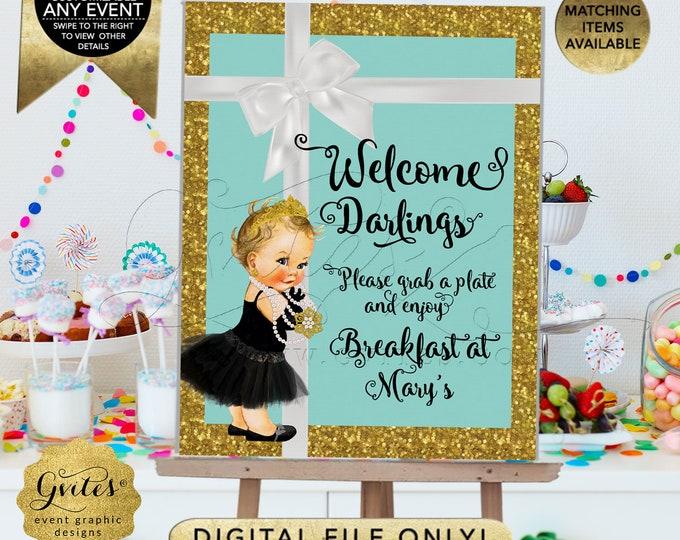 Welcome Sign Poster Birthday Printable Blue Gold Breakfast at Audrey Hepburn, Vintage and Black Tutu, Diamonds Pearls, DIY, Digital