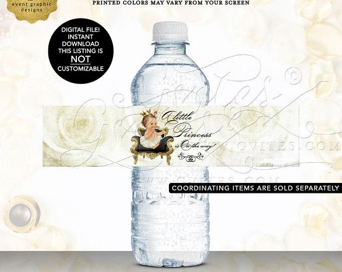 Water Bottle Labels Princess Baby Shower INSTANT Download | Light/Brunette Caucasian Design: WHRST-102 By Gvites