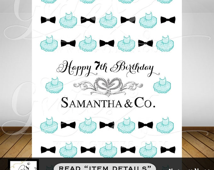 Step & Repeat Backdrop, TUTUS bowties, BIRTHDAY banner sign, turquoise blue silver and white, photobooth backdrop, baby and co. PRINTABLE
