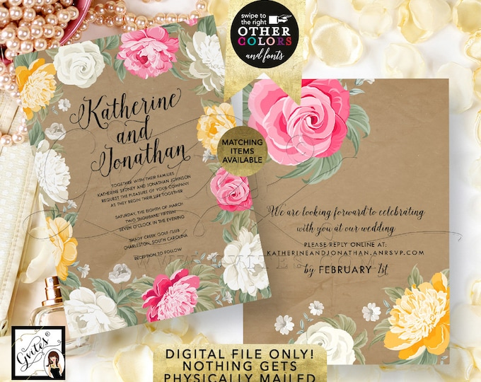 Peony Wedding Invitation, Pink Ivory, Kraft, Watercolor, Yellow, White, Peonies Invitations, Rustic, Shabby Printable, DIY, Digital, Gvites.