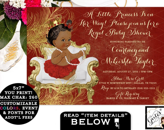 "Red and Gold Princess Baby Shower Invitations, african american baby girl, GOLD CROWN a little princess on the way, 7x5"" Gvites"